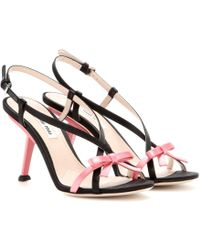 Miu Miu Satin Sandals - Lyst
