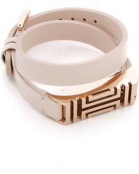 Tory Burch For Fitbit Fret Double Wrap Bracelet - Light Oak/Rose Gold - Lyst