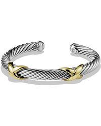 David Yurman Double X Bracelet With Gold - Lyst