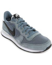 Nike Grey Internationalist Suede And Mesh Sneakers - Lyst