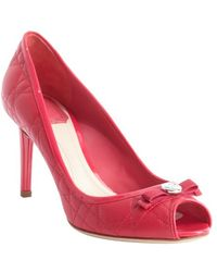 Dior Fuchsia Cannage Leather Peep Toe Pumps - Lyst