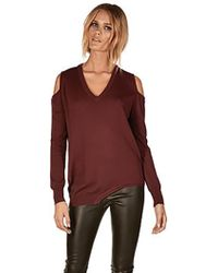 Sen Clothing Collection Sen Collection Karlie Cold Shoulder Sweater In Burgundy red - Lyst