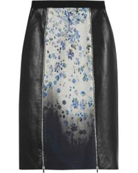 Preen Ilex Jersey and Leatherpaneled Crepe Skirt - Lyst