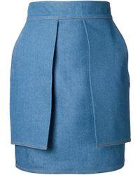Eckhaus Latta - Layered Denim Mini Skirt - Lyst
