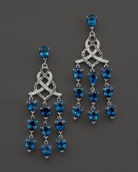 John Hardy Batu Classic Chain Sterling Silver Chandelier Earrings with London Blue Topaz and Diamonds - Lyst