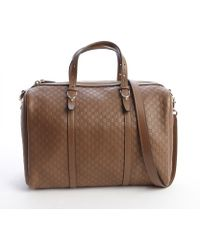 Gucci Brown Ssima Leather Boston Top Handle Bag - Lyst