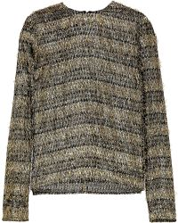 Isa Arfen - Fringed Striped Lamé And Jersey Top - Lyst