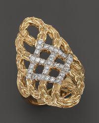 John Hardy Classic Chain 18k Yellow Gold Diamond Pave Woven Braided Saddle Ring - Lyst