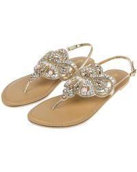 8fcb9e53d New Look Wide Fit Tan Leather Gem Strap Flat Sandals in Brown - Lyst