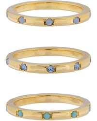 Accessorize - 3x Band Rings With Swarovski® Crystals - Lyst