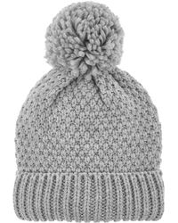 a97d384b50b Accessorize Contrast Pom Beanie Hat in Gray - Lyst