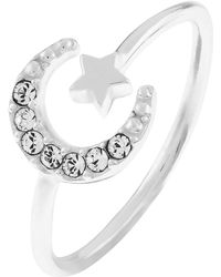 Accessorize - Sterling Silver Moon Ring With Swarovski® Crystals - Lyst