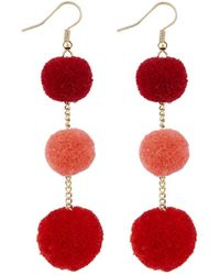 Accessorize - Pom Pom Drop Earrings - Lyst
