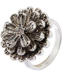 Accessorize - Silver Antiqued Flower Ring - Lyst
