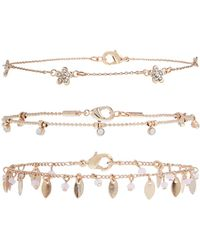 Accessorize - 3x Flower Power Anklet Pack - Lyst