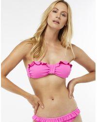 Accessorize - Ruffle Textured Bandeau Bikini Top - Lyst