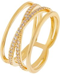 Accessorize - Criss Cross Sparkle Ring - Lyst