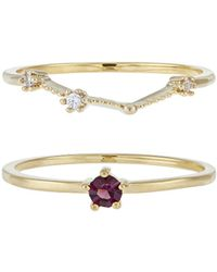 Accessorize - February Birthstone Stacking Ring Set - Lyst