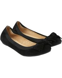 Accessorize - Olivia Elasticated Suede Bow Ballerina Flats - Lyst
