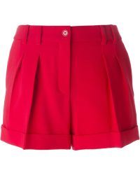 Moschino Pleated Shorts red - Lyst