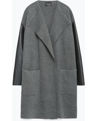 Zara | Coat With Faux Leather Sleeves | Lyst