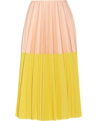 Cedric Charlier Two-tone Pleated Crepe Midi Skirt - Lyst