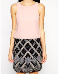 Lipsy - Dress With Embellished Skirt - Lyst