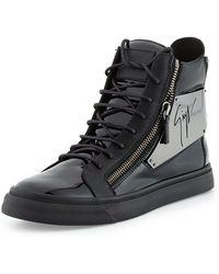 Giuseppe Zanotti Mens Patent Logo-plate High-top Sneaker - Lyst
