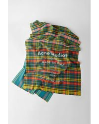 Acne Studios - Checked Logo Scarf mid Blue / Yellow Check - Lyst