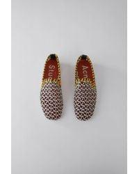 Acne Studios - Flat Mocassin Shoe white/navy/yellow - Lyst