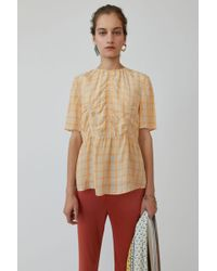 Acne Studios - Plaid Shirt orange/beige - Lyst