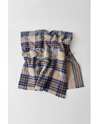 Acne Studios - Checked Logo Scarf oatmeal Beige / Blue Check - Lyst