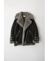 Acne Studios - Velocite Suede Black/dark Grey Shearling Jacket - Lyst