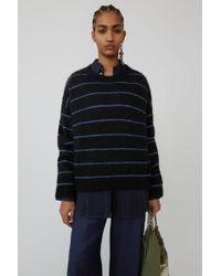 Acne Studios - Fuzzy Striped Sweater black/blue - Lyst