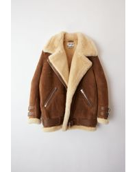 Acne Studios - Velocite Suede Brown/white Shearling Jacket - Lyst
