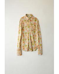 Acne Studios - Fn-wn-blou000018 Green/peach Printed Lurex Shirt - Lyst