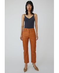 Acne Studios - 5 Pocket Leather Trousers cognac Brown - Lyst