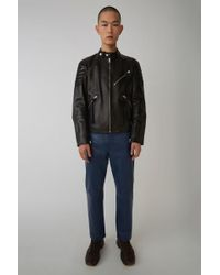 Acne Studios - Leather Moto Jacket black - Lyst
