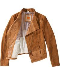 BOSS Orange Jopida | Sueded Leather Biker Jacket - Lyst