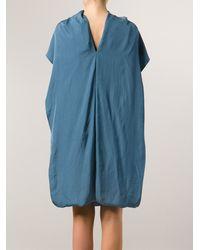 Lanvin Green Drape Dress - Lyst