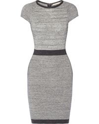 Rebecca Taylor Gray Textured-knit Dress - Lyst