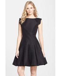 Halston Heritage Cotton & Silk Fit & Flare Dress - Lyst