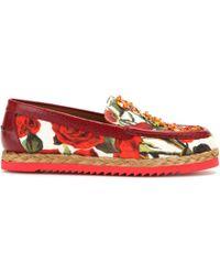 Dolce & Gabbana Embellished Brocade Loafers red - Lyst
