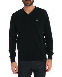 Lacoste Basic Black V-Neck Sweater - Lyst