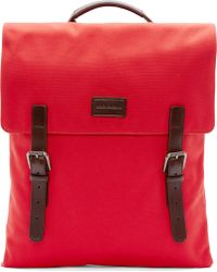 Dolce & Gabbana Red Canvas Leather Strap Backpack - Lyst
