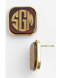 Moon & Lola 'Vineyard' Personalized Monogram Stud Earrings - Lyst