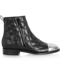Balmain Quilted Leather Ankle Boots - Lyst