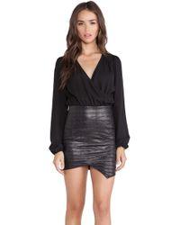 Donna Mizani Long Sleeve Drape Neck Dress - Lyst