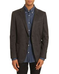 Armani Fitted Grey Cashmere Jacket with Patch Pockets - Lyst