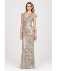 ABS By Allen Schwartz | silver Metallic Lace Plunging Neckline Gown | Lyst